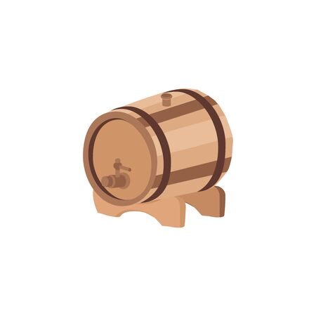 Wooden barrel icon flat.  Beer Festival. Vector isolated on white background  向量圖像