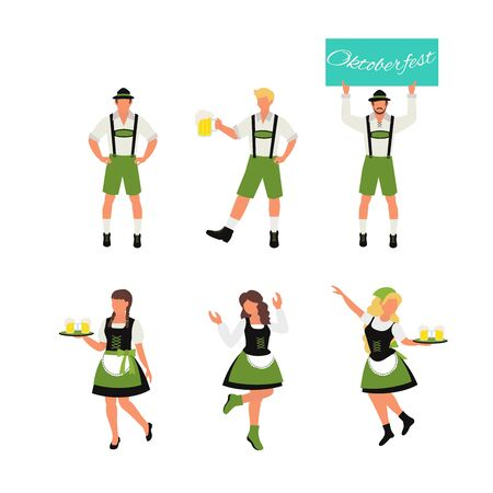 Beer fest. Waiters serving drinks. Oktoberfest. Vector illustration for poster, baner, card, print ads with flat illustrations