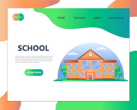 School building. Back to school concept. Website homepage landing web page template and mobile website. Modern flat design