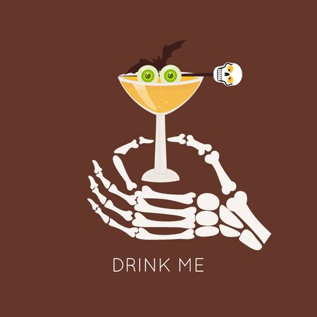 Halloween icons with different glasses of whiskey, and skeleton hand. Mexican Day of the Dead party invitation Stylish design for menu, prints, poster, invitation, party decoration.