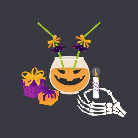 Halloween cocktail with pumpkin, eyes, skeleton and bats. Stylish design for menu, prints, poster, invitation, party decoration.