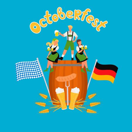 Oktoberfest vector background design. Beer Festival. Vector illustration for poster, baner, card, print ads with flat illustrations