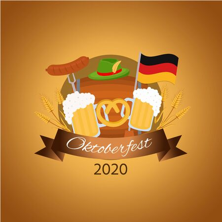Oktoberfest social media post mockup. Beer Festival. Advertising web banner design template. Social media booster, content layout. Promotion poster, print ads, flat illustration