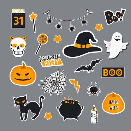 Vector illustration of set of halloween element with pumpkin, skeleton, pot of potion, ghosts and bats. Illustration can use for kids decor, print, card, sticker kit