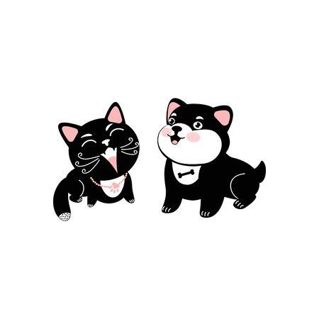 Black cat and dog. Cute cartoon character. Kawaii animal.  Vector illustration can use card, t-shirt print, nursery decor