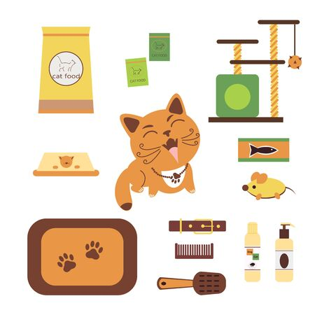 Bundle elements for of pet store products for cat.  Set of items or goods for domestic animals care, treatment, grooming, entertainment, feeding.  Vector illustration.  Çizim