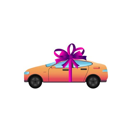 Vector illustration  car with bow.  Car gift concept or presentation of auto for sale, rent. Design element for website, mobile app, business.