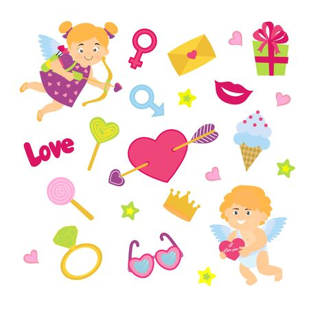 Pack of love stickers with Lovely Boy and girl cupids, hearts, star, lip, ring.  Love concept. Freehand drawing. Valentines day decoration elements. Banque d'images - 131878500