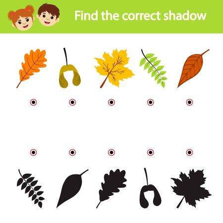 Games for children. Educational worksheet for kids. Leaves and their shadows. Find the right silhouette.