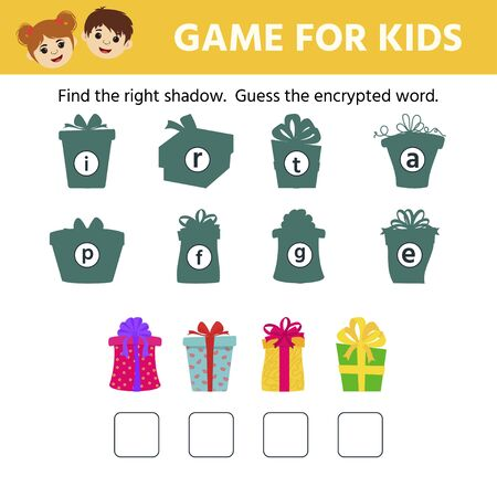 Games for children. Educational worksheet for kids. Find the right shadow.  Guess the encrypted word. Christmas gifts Illustration