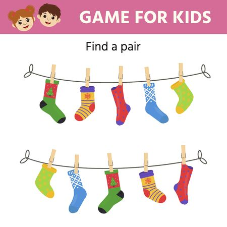 Game for children. Find a pair of matching socks.  Preschool worksheet activity for kids. Children funny riddle entertainment. Vector illustration Stok Fotoğraf - 132932677