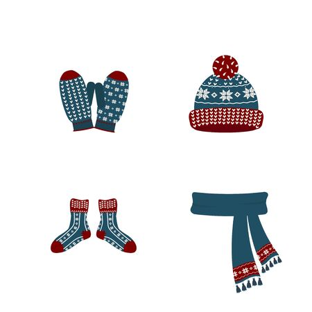 Set Winter Accessories. Hat, scarf, socks, mittens, gloves. Warm clothes, for winter, spring, autumn. Clothing store.