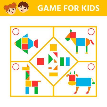 Juego de lógica educativa para niños en edad preescolar. Conecta los detalles y los animales de formas geométricas. Actividad de la hoja de trabajo preescolar. Entretenimiento de acertijos divertidos para niños. Ilustración vectorial