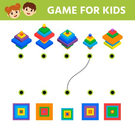 Game tasks for kids for attention. Worksheet with puzzle game for children. Pyramid. Vector illustration Иллюстрация