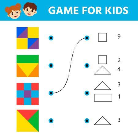 Juego de lógica educativa para niños en edad preescolar. Hoja de actividades para niños. Encuentra la coincidencia de las formas de las que consta el cuadrado. Entretenimiento de acertijos divertidos para niños. Ilustración vectorial