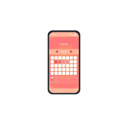 Womans mobile utility app for Menstruation calendar, ovulation tracker. Woman hygiene concept. Mobile. Vector illustration Иллюстрация