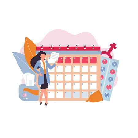 The girl is planning a month in the Menstruation reminder calendar. Woman Menstruation calendar, ovulation tracker. Menstrual cup, sanitary napkin. Vector illustration
