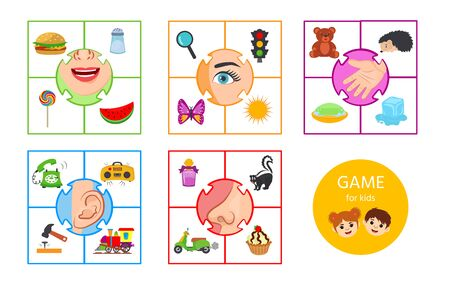 Educational worksheet for kids. Game for Kids to Compare and Connect Objects and Shadows. The picture of senses and objects - touch, taste, hearing, sight, smell