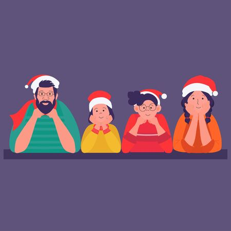 Happy family on Christmas day posing for portrait with Santa Claus hats. Vector illustration can use for greeting card, banner, poster, web page