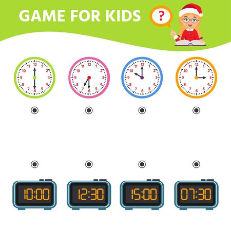 Game for children. Educational worksheet for preschool kids. Puzzle with clock and numbers. What time is it? Vector illustration Stok Fotoğraf - 134753051
