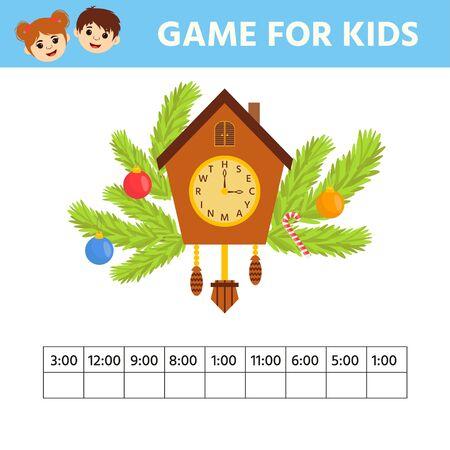 Juego para niños. Hoja de trabajo educativa para niños en edad preescolar. Rompecabezas con reloj y números. ¿Que hora es? Ilustración vectorial