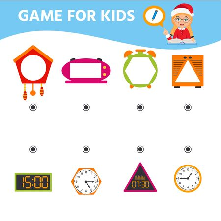 Game for children. Educational worksheet for preschool kids. Puzzle with clock and numbers. What time is it? Vector illustration Illusztráció