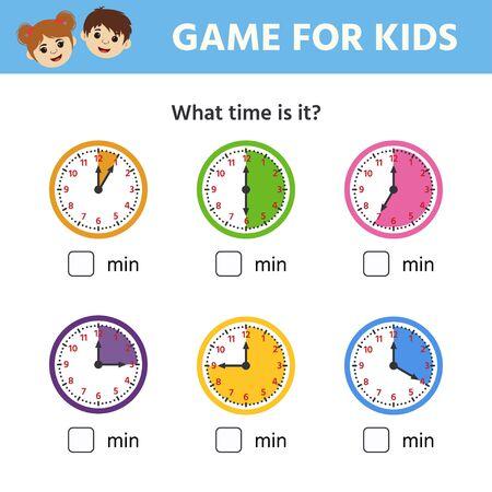Juego para niños. Hoja de trabajo educativa para niños en edad preescolar. Rompecabezas con reloj y números. ¿Que hora es? Ilustración vectorial Ilustración de vector