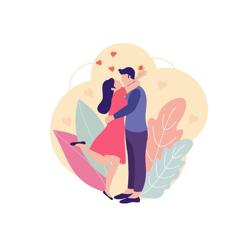 Happy couple man and woman with hugging. Love vector concept image can use for card, banners, T-short, web page. Man making offer to woman asking her marry. Woman with Engagement Ring.