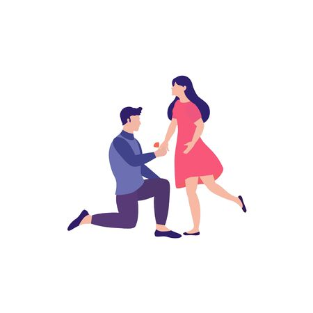 Lovely happy couple. Man standing on knee with ring in hand making offer to woman asking her marry him. Vector illustration can use for the design of banners, flyers, card, web Illustration