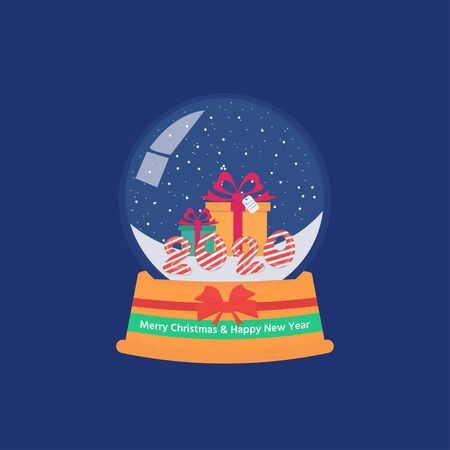 Glass snow globe with gifts. Happy New year and merry Christmas. Congratulatory postcard or poster. Vector Illustration