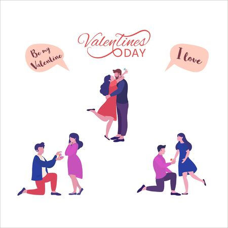 A couple man and woman, set. Concept of meeting, farewell,  Happy family, Valentine Day. Vector illustration for a greeting card for Valentine Day, banner, poster, web page. 向量圖像