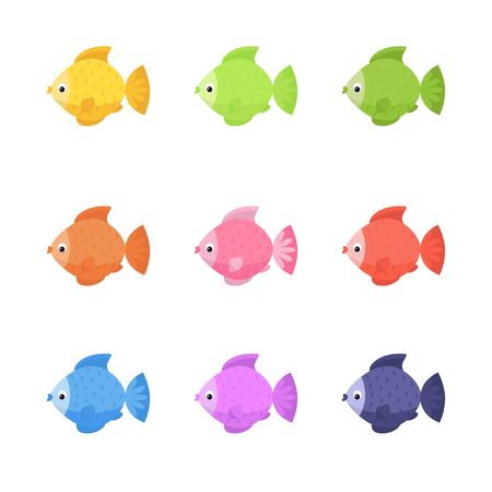 Cute color fish. Vector collection design for cards, T-shirt, stickers, children's rooms. Illustration