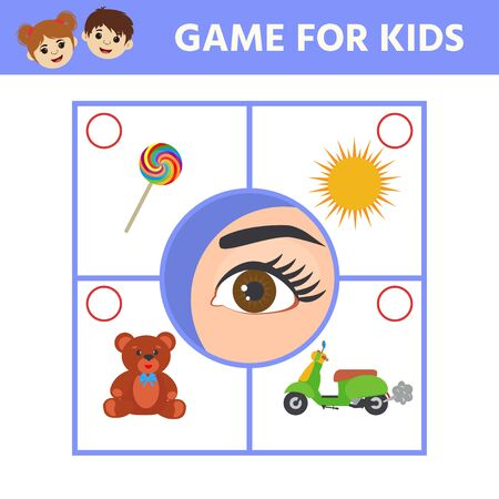 Educational worksheet for kids. Game for Kids to Compare and Connect Objects and Shadows. The picture of senses and objects - touch, taste, hearing, sight, smell Illustration