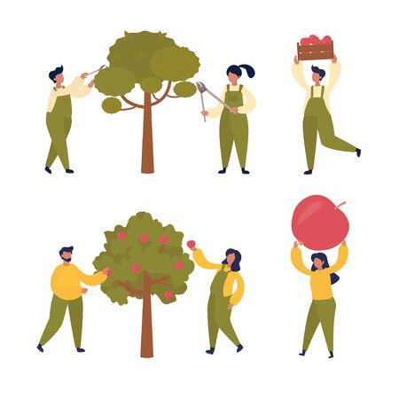 Ensemble de vecteur d'illustration avec de petites personnes cueillent la récolte de pommes. Récolte, travaux agricoles, entretien des arbres, concept de jardinage. Conception pour page Web, présentation, impression, bannière.