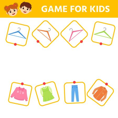 Education logic game for preschool kids. Kids activity sheet. Match of hangers and clothes. Pick by color. Children funny riddle entertainment. Illustration