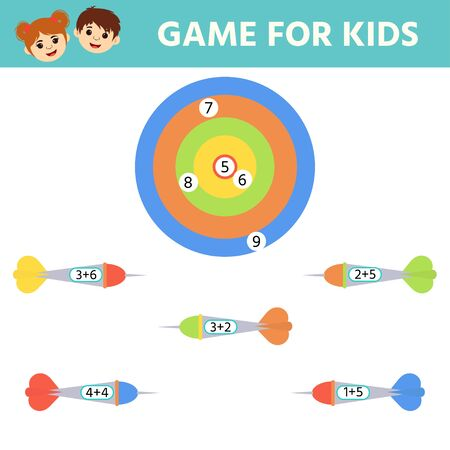 Education logic game for preschool kids. Kids activity sheet. Match of hit the target. Solve an example. Children funny riddle entertainment. Stock Illustratie