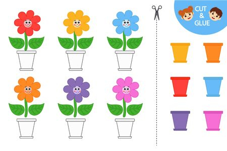 Education logic game for preschool kids. Kids activity sheet. Find color matching. Cute flowers in a pots. Children funny riddle entertainment.