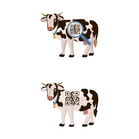 Cow with is a barcode, chip on the body. Vector illustration isolated on a white background