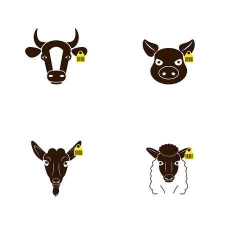 Farm animals set. Cow, pig, sheep, horse, goat head face icons with chip, barcode. Vector illustration isolated on a white background