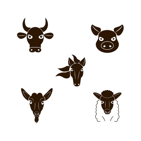 Farm animals set. Cow, pig, sheep, horse, goat head face icons. Vector illustration isolated on a white background Reklamní fotografie - 137846876
