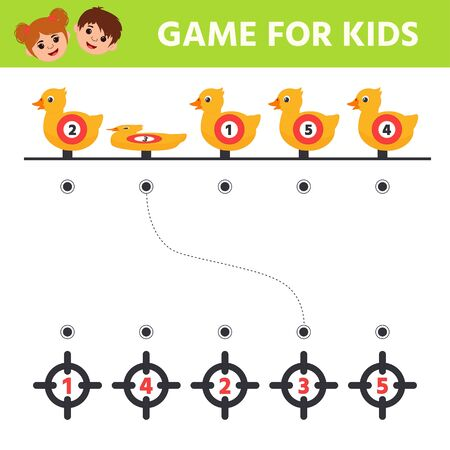 Educational math game for kids. Duck targets. Preschool worksheet activity  for the development of logical thinking. Puzzle.  Stock Illustratie