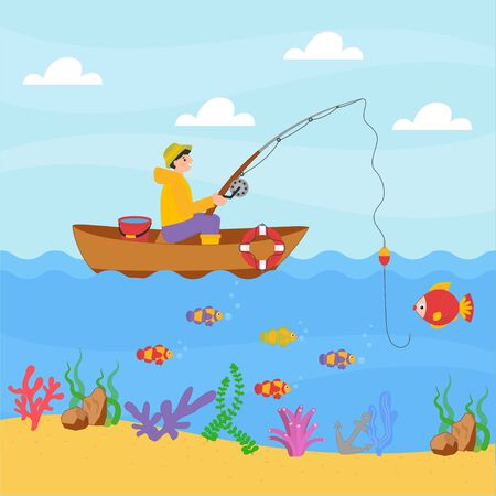 Cute boy fishing in a boat with fishing rod. Vector illustration design cartoon style for print, card, children game