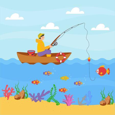 Garçon mignon pêchant dans un bateau avec une canne à pêche. Style de dessin animé de conception d'illustration vectorielle pour l'impression, la carte, le jeu pour enfants