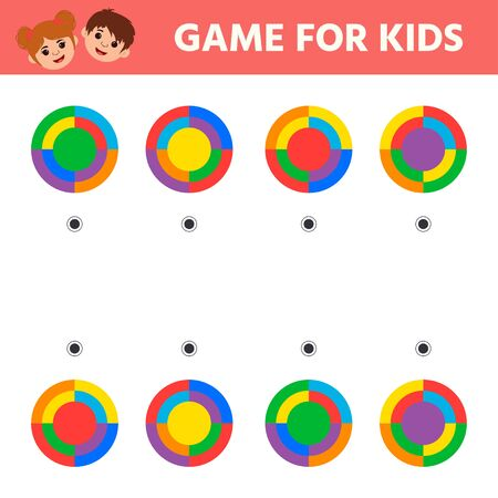 Education math game for kids development of logic iq. Kids activity sheet. Find matching shapes. Children funny riddle entertainment Illustration