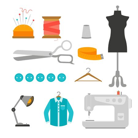 Set with sewing supplies: mannequin, measuring tape, threads, scissor, sewing machine, buttons. Vector illustration