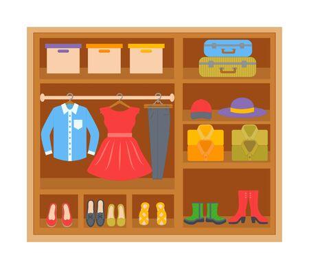 Kleiderschrank mit Kleidung in Regalen. Cartoon-Kleidung und Schuhe. Vektor-Illustration Vektorgrafik