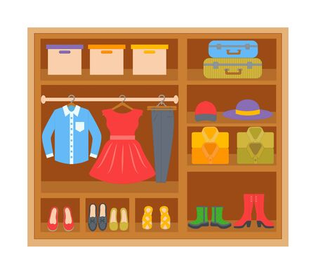 Wardrobe with clothes on shelves. Cartoon clothes and footwear. Vector illustration