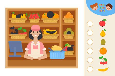 Education logic game for preschool kids. Kids activity sheet. Find the right shadow. Fruit on shop shelves. Children funny riddle entertainment.