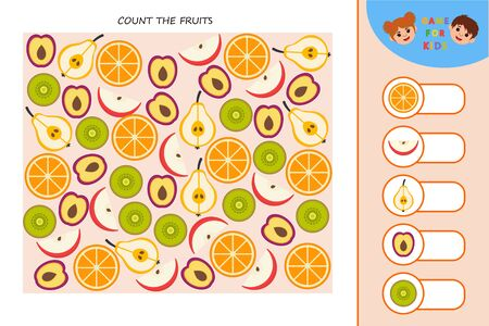 Education logic game for preschool kids. Kids activity sheet. Count the fruits. Children funny riddle entertainment.