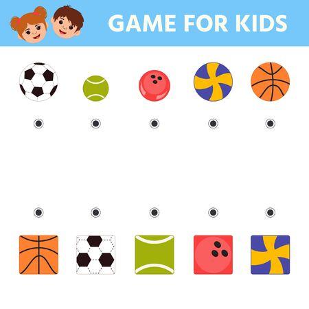 Education logic game for preschool kids. Kids activity sheet. Find a match. Basket ball, tennis ball, foot ball, bowling ball, volley ball. Children funny riddle entertainment